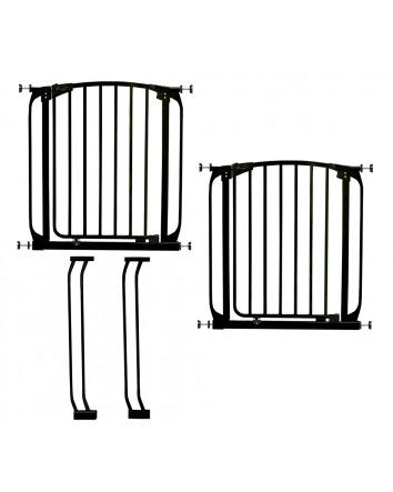 CHELSEA BLACK SAFETY GATE & EXTENSION SET (2 GATES 2 EXTENSIONS)