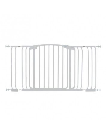 CHELSEA XTRA-WIDE WHITE HALLWAY SECURITY GATE & EXTENSION SET (1 GATE 2 EXTENSIONS)