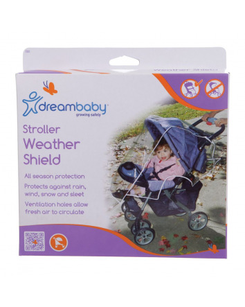 STROLLER WEATHER SHIELD WITH WHITE PIPING