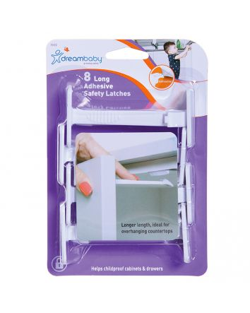 ADHESIVE SAFETY LATCHES - LONG (8 PK)
