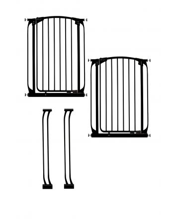 CHELSEA XTRA-TALL BLACK GATE & EXTENSION SET (2 GATES 2 EXTENSIONS)