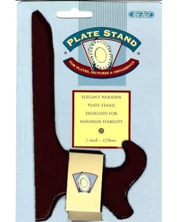 """BROWN WOOD PLATE STAND 7"""""""